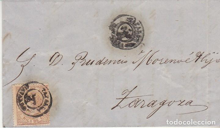 SELLO 96. ISABEL II. TAFALLA A ZARAGOZA.1868 (Sellos - España - Isabel II de 1.850 a 1.869 - Cartas)