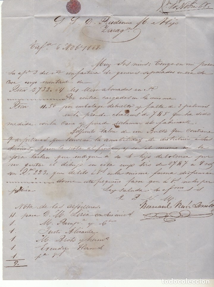Sellos: Sello 96. ISABEL II. TAFALLA a ZARAGOZA.1868 - Foto 2 - 175214062