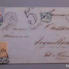 Sellos: ESPAÑA - 1868 - CARTA COMPLETA BARCELONA-AIGUILLON (FRANCIA) EDIFIL 95 Y 100A - LUJO. . Lote 175271403