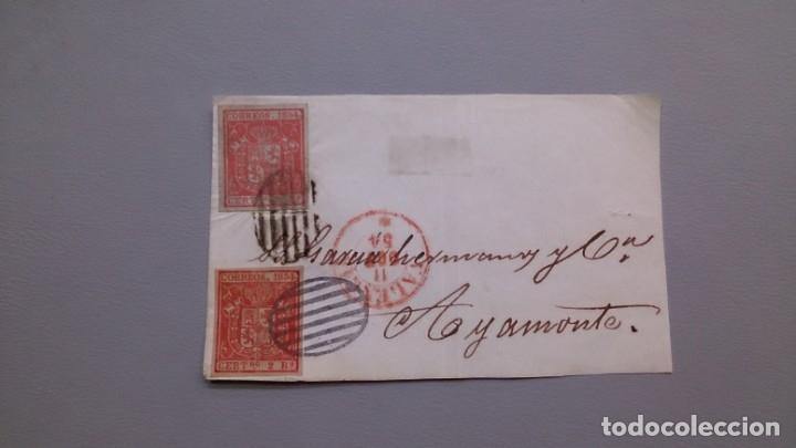 ESPAÑA - 1854 - ISABEL II - FRONTAL VALENCIA-AYAMONTE 1854 - CON 2 EDIFIL 25. (Sellos - España - Isabel II de 1.850 a 1.869 - Cartas)