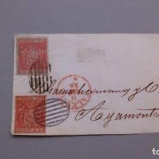 Sellos: ESPAÑA - 1854 - ISABEL II - FRONTAL VALENCIA-AYAMONTE 1854 - CON 2 EDIFIL 25.. Lote 175273129