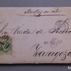 Sellos: ESPAÑA - 1862 - ISABEL II - CARTA COMPLETA MADRID-ZARAGOZA 1862 - EDIFIL 62 - EXCELENTE CONSERVACION. Lote 175278740