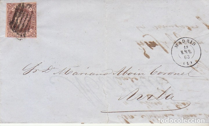 SELLO 58. ISABEL II. MADRID A AVILA. 1863. (Sellos - España - Isabel II de 1.850 a 1.869 - Cartas)