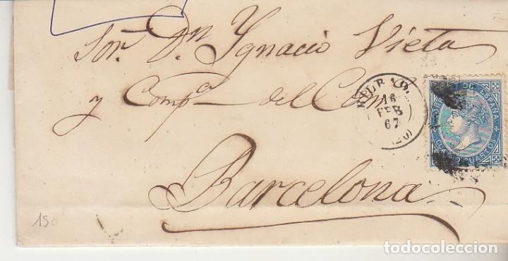 SELLO 81. BILBAO A BARCELONA. 1867. (Sellos - España - Isabel II de 1.850 a 1.869 - Cartas)