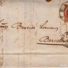 Sellos: AÑO 1856 EDIFIL 48 ISABEL II CARTA MATASELLOS RUEDA DE CARRETA 15 ZARAGOZA. Lote 176079218