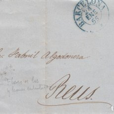 Sellos: CARTA COMPLETA CON SELLO NUM. 33A DE JOSÉ VALENTI EN BARCELONA 1855 DESTINO REUS. Lote 176219259