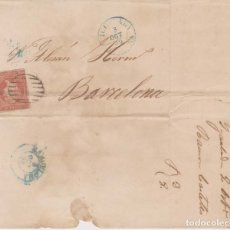 Sellos: AÑO 1856 EDIFIL 48 ISABEL II CARTA MATASELLOS REJILLA Y AZUL IGUALADA. Lote 177187187