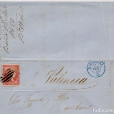Sellos: AÑO 1856 EDIFIL 48 ISABEL II CARTA MATASELLOS REJILLA Y AZUL BARCELONA. Lote 177187934