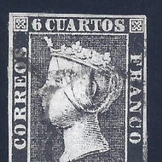 Sellos: EDIFIL 1A. ISABEL II. AÑO 1850. TIPO 3. PAPEL GRUESO. NEGRO INTENSO. LUJO.. Lote 177320884