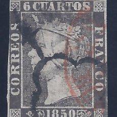 Sellos: EDIFIL 1A. ISABEL II. AÑO 1850. TIPO 14. PAPEL FINO. MATASELLOS DE ARAÑA NEGRA Y BAEZA ROJO. LUJO.. Lote 177322978