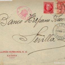 Sellos: FRONTAL DE SOBRE DE 1937 DE CABRA (CORDOBA) A SEVILLA. SELLO 687 Y LOCAL DE CORDOBA MARCA DE CENSURA. Lote 177456429