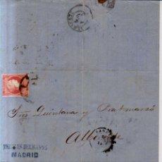 Sellos: AÑO1856 EDIFIL 48 ISABEL II CARTA MATASELLOS RUEDA DE CARRETA 1 MADRID MEMBRETE MORALES HERMANOS. Lote 177508844