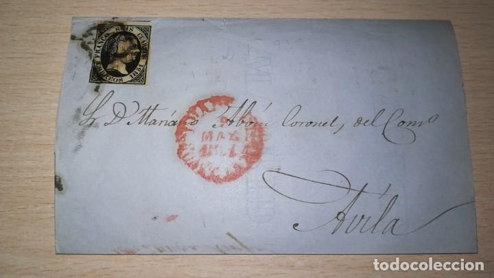 ANTIGUA CARTA CON SELLO DE SEIS CUARTO. EPOCA ISABEL 2ª.DESTINO AVILA.AÑO 1851 (Sellos - España - Isabel II de 1.850 a 1.869 - Cartas)