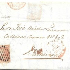 Sellos: ANDALUCIA. EDIFIL Nº 12. ENVUELTA CIRCULADA DE SEVILLA A BARCELONA 10-FEB-1852. Lote 177701082