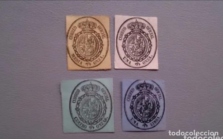 ESPAÑA - 1855 - ISABEL II - EDIFIL 35/38 - SERIE COMPLETA - ESCUDO DE ESPAÑA - VALOR CATALOGO 40€ (Sellos - España - Isabel II de 1.850 a 1.869 - Nuevos)