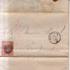 Sellos: AÑO1856 EDIFIL 48 CARTA MATASELLOS REJILLA VALENCIA MEMBRETE DE JUAN ROBERT DE VALENCIA. Lote 179181980