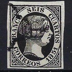 Selos: ESPAÑA - 1851 - ISABEL II - 6 CUARTOS - EDIFIL 6 - USADO - MATASELLOS ARAÑA MUY BONITO. Lote 179201227