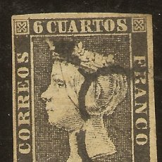 Sellos: ESPAÑA EDIFIL 1 (º) 6 CUARTOS NEGRO ISABEL II 1850 NL1016. Lote 179236550