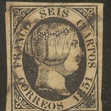Sellos: ESPAÑA EDIFIL 6 (º) 6 CUARTOS NEGRO ISABEL II 1851 NL1015. Lote 179237295