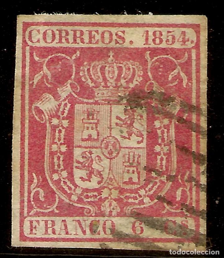 ESPAÑA EDIFIL 24 (º) 6 CUARTOS CARMÍN ISABEL II 1854 NL945 (Sellos - España - Isabel II de 1.850 a 1.869 - Usados)