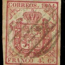 Sellos: ESPAÑA EDIFIL 33 (º) 4 CUARTOS CARMÍN ESCUDO DE ESPAÑA 1854 NL1031. Lote 179240498