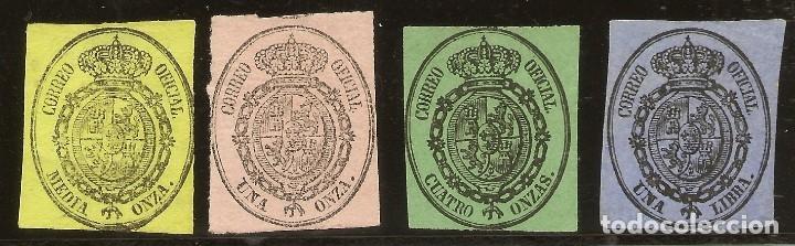 ESPAÑA EDIFIL 35/38 (*)/* SERIE COMPLETA ESCUDO DE ESPAÑA 1855 NL1517 (Sellos - España - Isabel II de 1.850 a 1.869 - Nuevos)