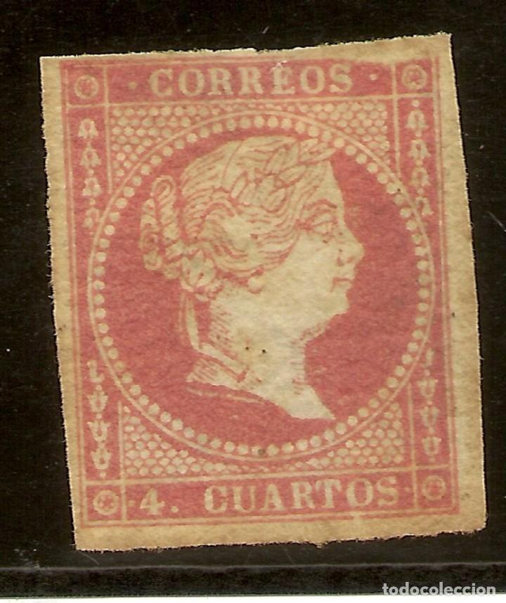 ESPAÑA EDIFIL 4 * MH FILIGRANA LINEAS 4 CUARTOS ROJO ISABEL II 1855 NL942 (Sellos - España - Isabel II de 1.850 a 1.869 - Nuevos)