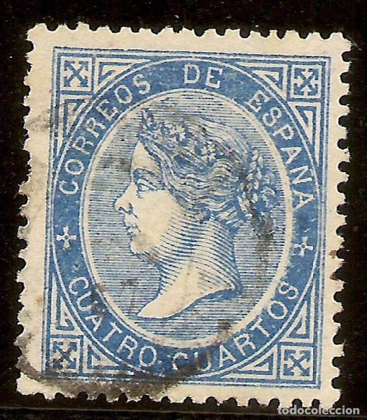 ESPAÑA EDIFIL 88 (º) 4 CUARTOS AZUL ISABEL II 1867 NL1209 (Sellos - España - Isabel II de 1.850 a 1.869 - Usados)