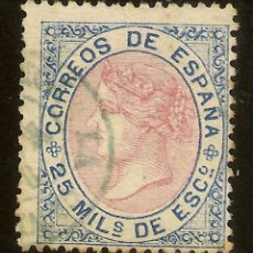 Sellos: ESPAÑA EDIFIL 95 (º) 25 MILÉSIMAS AZUL Y ROSA ISABEL II 1867 NL1247. Lote 180256713