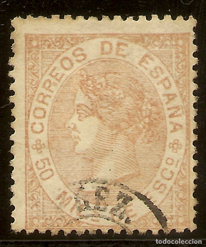 ESPAÑA EDIFIL 96 (º) 50 MILÉSIMAS CASTAÑO ISABEL II 1867 NL1339 (Sellos - España - Isabel II de 1.850 a 1.869 - Usados)