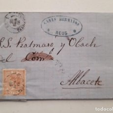 Sellos: 1868, EDIFIL 96 EN CARTA REUS ALBACETE. Lote 180293210