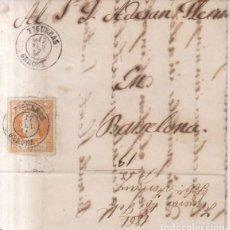 Sellos: AÑO1860 EDIFIL 52 ISABEL II CARTA MATASELLOS FIGUERAS GERONA A BARCELONA. Lote 180414115