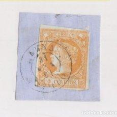 Sellos: FRAGMENTO. 4 CUARTOS AMARILLO CON FECHADOR LENA. ASTURIAS. 1861. Lote 180993543