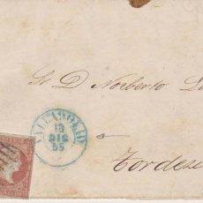 Sellos: AÑO1856 EDIFIL 48 ISABEL II CARTA MATASELLOS REJILLA Y AZUL VALLADOLID. Lote 181022633