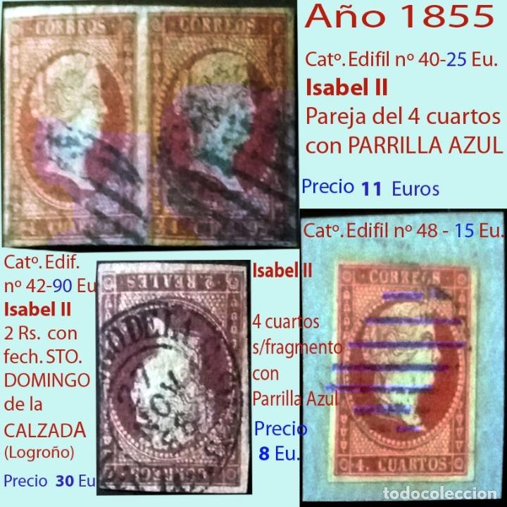 MATASELLOS SOBRE SELLOS DE ISABEL II .LA EMISIÓN DE 1855. PRECIO DEL CONJUNTO,INDIVIDUAL OTRO PRECIO (Sellos - España - Isabel II de 1.850 a 1.869 - Usados)