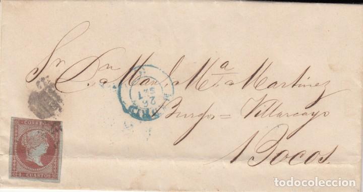 1855 CARTA CON SELLO NUM. 40 DE ANTONIO TABERNILLA EN MADRID DESTINO BOCOS FECHADOR AZUL Y PARRILLA (Sellos - España - Isabel II de 1.850 a 1.869 - Cartas)