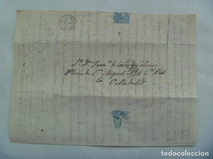 Sellos: CARTA CIRCULADA CON SELLO DE ISABEL II AZUL. DIRIGIDA A VALLADOLID EN 1863. MATASELLO Y MANUSCRITA - Foto 2 - 181442243