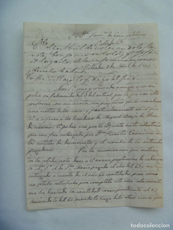 Sellos: CARTA CIRCULADA CON SELLO DE ISABEL II AZUL. DIRIGIDA A VALLADOLID EN 1863. MATASELLO Y MANUSCRITA - Foto 3 - 181442243