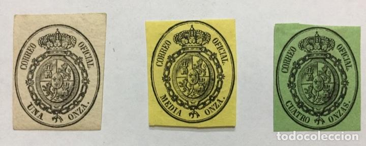 ESPAÑA 1855 EDIFIL 35/37 - NUEVOS CON FIJASELLOS (35 CON GOMA) (Sellos - España - Isabel II de 1.850 a 1.869 - Nuevos)