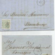 Sellos: ESPAÑA.AÑO 1873.EDIFIL Nº 133 DOS CARTAS COMPLETAS CIRCULADAS DE MADRID A BARCELONA.. Lote 181981196
