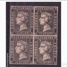Sellos: ESPAÑA - 1850 - ISABEL II - EDIFIL 1 -F- BLOQUE DE 4 - MNH** - NUEVOS.. Lote 182078045