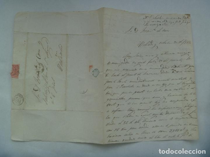 Sellos: CARTA CIRCULADA CON SELLO DE ISABEL II ROJO DE VILLABA A VALLADOLID EN 1864. MATASELLO Y MANUSCRITA - Foto 3 - 182135406