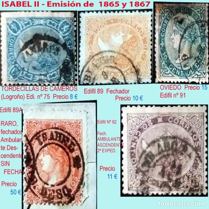 MATASELLOS SOBRE SELLOS DE ISABEL II.EMISIÓN DE 1865-67.PRECIO DEL CONJUNTO, INDIVIDUAL OTRO PRECIO (Sellos - España - Isabel II de 1.850 a 1.869 - Usados)