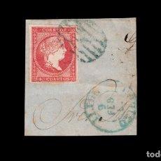 Sellos: ISABEL II - EDIFIL 48 - SOBRE FRAGMENTO - MATASELLOS AZUELES PARRILLA Y FECHADOR JIJON - OVIEDO.. Lote 182198621