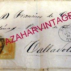 Sellos: BURGOS. 1861. ESPAÑA. SPAIN. 4 CUARTOS. ED. 52. BURGOS A VALLADOLID. Lote 182261728