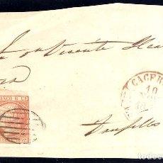 Sellos: AÑO1852 EDIFIL 12 ISABEL II FRONTAL MATASELLOS REJILLA Y ROJO CACERES. Lote 182300313