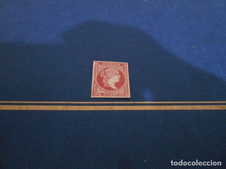 CORREOS 4. CUARTOS COLOR GRANATE O ROJO OSCURO (Sellos - España - Isabel II de 1.850 a 1.869 - Nuevos)