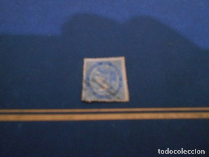 CORREOS DE ESPAÑA CUATRO CUARTOS -COLOR AZUL -ESTA USADO (Sellos - España - Isabel II de 1.850 a 1.869 - Nuevos)