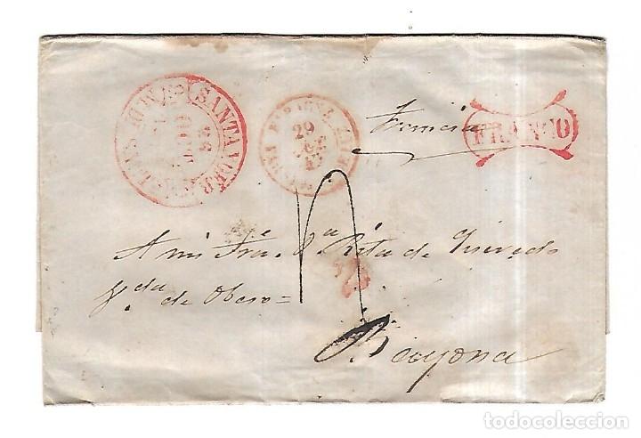 SOBRE DE SANTANDER A BAYONA. FRANCO. VER. 1869 (Sellos - España - Isabel II de 1.850 a 1.869 - Cartas)
