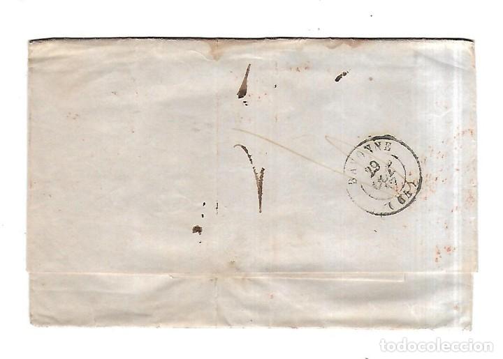 Sellos: SOBRE DE SANTANDER A BAYONA. FRANCO. VER. 1869 - Foto 2 - 182943365